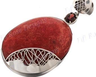 "3"" Big Red Coral Garnet 925 Sterling Silver Pendant"
