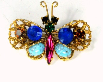 Colorful Rhinestone Butterfly Pin, 1940s Assorted  Czech Glass Stones and Cabouchons, Filigree Now Oxidized Gold Insect Brooch