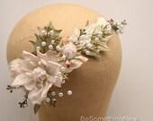 Wedding Flower Crown Blush Pink and Sage Green One of a Kind Bridal Headpiece, Floral Headpiece Wedding Flower Halo Boho Rustic Wedding Hair