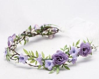 Rustic Flower Crown Lavender Floral Hair Vine Woodland Wedding Hair Halo Boho Wedding Bridal Hair Wreath, Flower girl wreath, bridesmaids