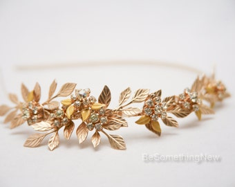 Gold Metal Headband of Brass Leaves and Vintage Rhinestone Jewelry, Gold Wedding Tiara, Rhinestone Bridal Headpiece Metal Leaf Headband