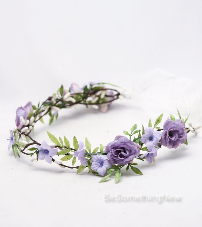 Lavender Flower Hair Wedding Style: Rustic Flower Crown Lavender Floral Hair Vine Woodland Wedding
