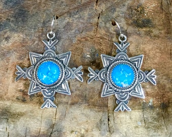E246 The Nambe Cross sterling silver with turquoise southwestern style earrings