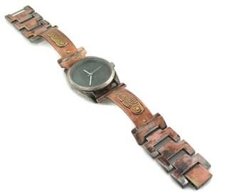 Copper & brass Watch, blue Dial, l wrist watch handmade metal  bracelet metal hand made