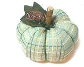 Size 4 | Light Turquoise Green Fabric Pumpkin | Holidays | Fall Decor | Autumn | Thanksgiving Decor | Table Decoration | Pin Cushion | #1