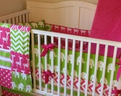 Crib Bedding Set Pink and Green Elephants and Giraffes Ready to Ship Today