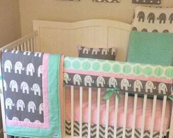 Pink and Mint Elephant Baby Girl Crib Bedding Set