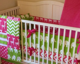 Baby Girl Crib Bedding Set Pink and Green Elephants and Giraffes Ready to Ship