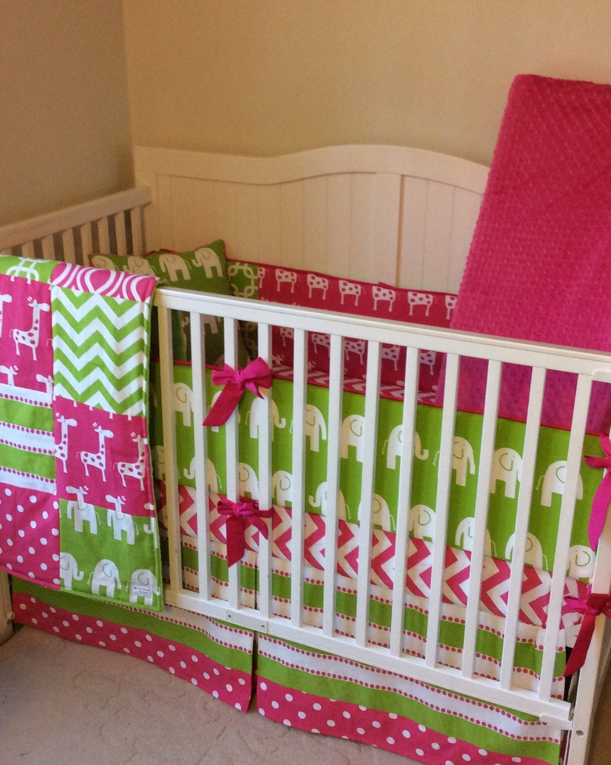 Baby Girl Crib Bedding Set Pink and Green Elephants and