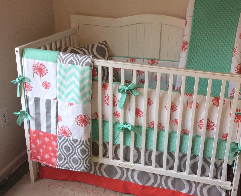 Crib Bedding Set Baby Girl Coral Mint And Gray