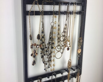 Jewelry Holder, Necklace Organizer, Hangs 30-120 Necklaces, Ebony Stain, Black, Jewelry Organizer, Oak Hardwood, Display Rack, Wall Mount