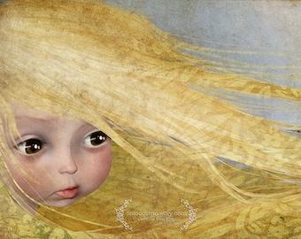 """Art Print - """"Summer"""" - Medium Sized Giclee Print - Summer Child - Blonde with Yellow Hair- Childrens room art - Jessica von Braun Artwork"""