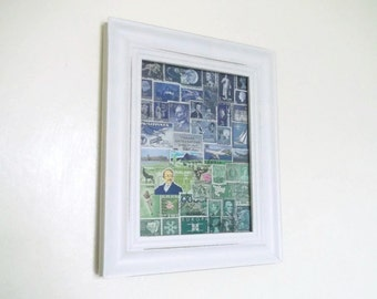 Abstract Landscape Postage Stamp Wall Art | Blue Green Framed Office Art, Eclectic Decor | OOAK Recycled Art Collage | Stamp Collector Gift