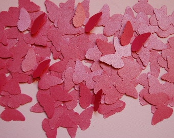 Metallic Raspberry Pink Vellum Butterfly Confetti--100 Butterflies--Punch-Cut Out-Wedding-Shower-Party-Scatter-Mobile DIY-Ready to Ship