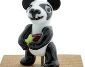 Lampwork Glass Panda Bear Focal Bead, Handmade Glass Bead, Panda Holding a Bamboo Treat, Izzybeads SRA
