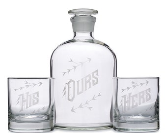 His Hers Ours Decanter Set — Wedding Gift, Couples Present, Engagement Party, Housewarming Gifts - Barware - Home Décor