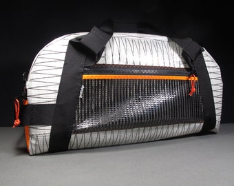 Large Sailcloth Gear Bag: The Airstream - White Xply, Black and Neon Orange - Vegan
