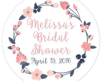 60 Wedding Shower Stickers, Floral Bridal Shower Labels, Stickers, 2.5 inch round, Wedding Shower, Bridal Shower Favor, Pink Blush and Navy