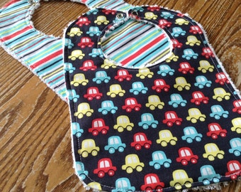 Set of Baby Boy Bibs, Chenille Back, Snap Closure, Mini Cars And Stripes