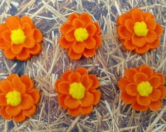 Orange and Yellow Fondant Flowers-Set of 12 Fondant Flowers-Cake/Cupcake Toppers-Fall Colors-Fall Fllowers-Summer Flowers-Yellow Flowers