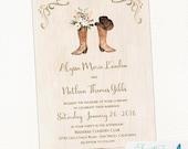 Cowboy Boot Wedding Invitation   Rustic Wedding, Country Wedding, Western Wedding, watercolor   Printable Invitation, Digital File
