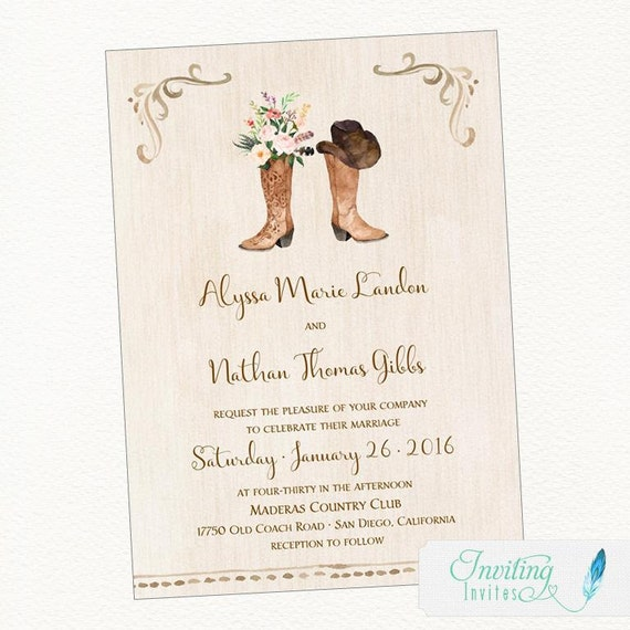 Cowboy Boot Wedding Invitation Rustic Wedding Country