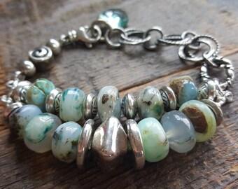 Peruvian Blue Opals double strand boho artisan sterling silver bracelet