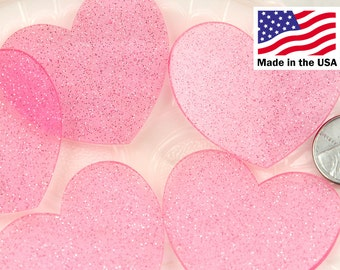 Heart Cabochons - 45mm Translucent Pink Glitter Heart Acrylic or Resin Cabochons - 4 pc set