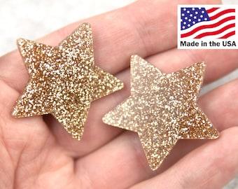 Glitter Star Resin Cabochons - 40mm Gold Glitter Stars Resin Cabochons - 5 pc set
