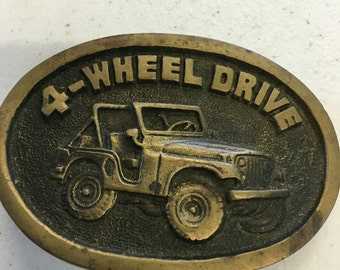 Vintage Solid Brass Jeep BTS Belt Buckle-Made in USA--Retro 4-Wheel Drive--Boho Hippie Chic--Gift for Him