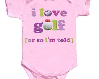 Funny Girl Golf Baby Bodysuit Girl Tee's Pink Romper NewBorn Creepers to Kids Tees