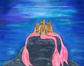 """Mermaid Art Print Giclee Mermaids Sisters Mother Daughters Wall Art Mermaid Art Wall Art Decor """"THE LOVELY MERMAIDS"""""""