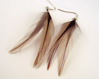 Feather Earrings grey badger real feathers