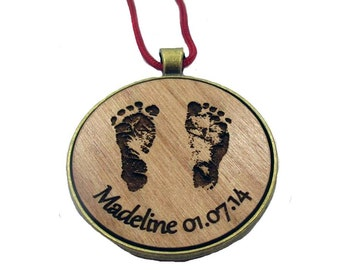 Round Ornament engraved with your baby's actual footprints