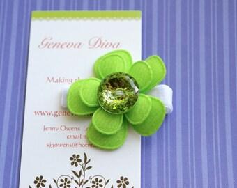 Lime Green Bling Felt Flower Hairclip