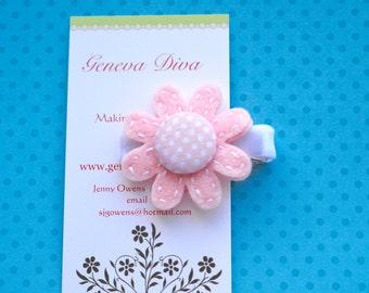 Pale Pink and White Polka Dot Felt Flower Clip