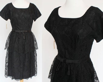 50's / 60's Lace Dress / Black Cocktail Dress / Short Sleeves / Small / NWT