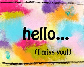 Hello, I Miss you Card with Envelope, Miss you Card, Wholesale Birthday Cards, Greeting Cards