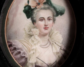 Fine Antique Miniature Portrait Painting of Lady with Jewelry
