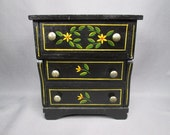 Vintage Miniature Doll Furniture - 3 Drawer Dresser with Pennsylvania Dutch Motif - 5 Inches Tall
