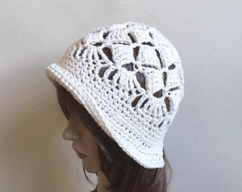 Shell Belle Beach Hat - Summer Cloche Sunhat - Cotton Ecru - Women Girl Teen - Cool Open Stitch Design