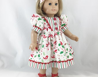 "Fits American Girl Other 18"" Dolls Christmas Dress In Bright Reds and Greens Poinsettia Holly Red Birds and Stripes Matching Hair Bow"