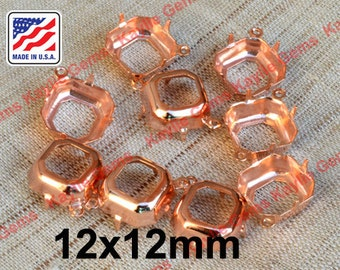 Prong Setting 12x12 Octagon Rose Gold Plated Brass Open Back Settings - 4 pcs