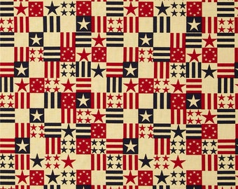 Made in the USA Fabric with Antique Flags Red, Blue, Antique(by the yard)