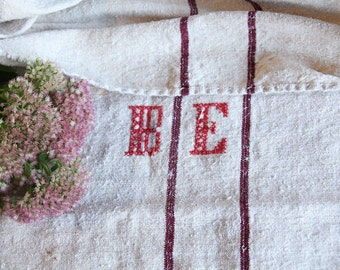 B622 antique classy grainsack 모노그램 MAHAGANY RED  리넨 holiday feeling pillow cushion french lin 39.37 wide thanksgiving