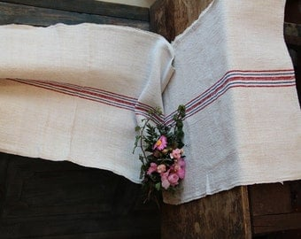Nr. A439: christmas tablecloth; TABLERUNNER; BLUE and RED stripes; ready handsewn 2.7 yards long