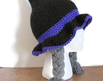 Crochet Halloween Black Witch Hat - Girl's Black & Purple Witch Hat With Braids - Witch Costume - Ready To Ship