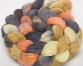 BFL Tussah SILK Extra Soft Handpainted 100g top roving spinning fibre -  Landscape