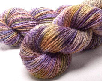 Hand dyed, Bluefaced Leicester, BFL, DK yarn, soft, 100g skein Colour Lavender Fields