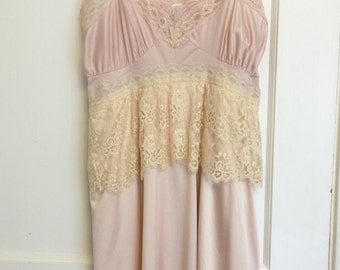 pink altered slipdress shabby chic prairie wedding garden party dress small medium